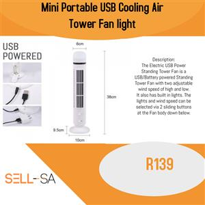 mini portable usb cooling air tower fan light