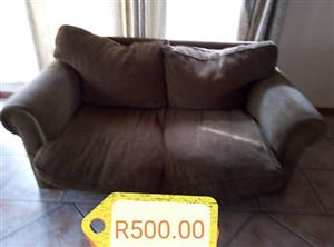 2 SEATER BROWN SUEDE COUCH FOR SALE