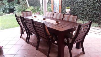 Wood Teak Patio Set  8 Chairs