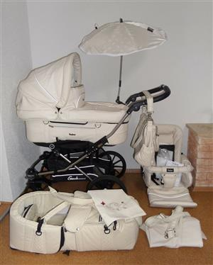 Emmaljunga Mondial Duo S stroller Luxury Pack Cream Leather Full Equipment NEW