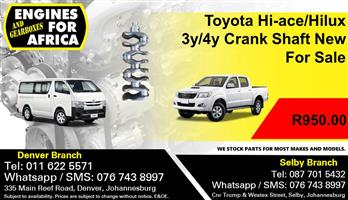 Toyota Hi-ace/Hilux 3y/4y Crank Shaft New For Sale.