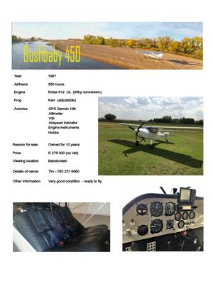 Bushbaby aircraft for sale