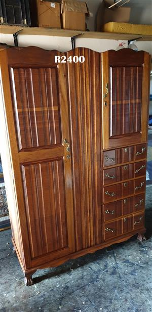 2 Door 5 Drawer Teak Ball and Claw Wardrobe (1220x500x1800)