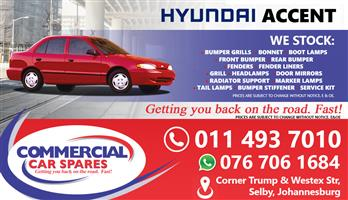 New Hyundai Accent 99-Body Parts And Spares For Sale At Car Spares