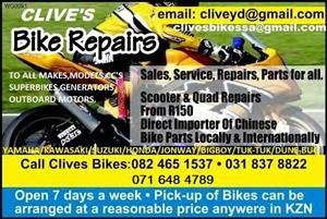 CLIVES BIKES IMPORTS SA/ WORLD WIDE COURIERS ALL PARTS/BIKES/TRUCKS/TRACTORS/BOATS/GENERATORS/TUK-TUK!!!