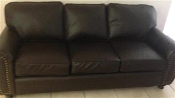 Dark brown 3 seater leather couch
