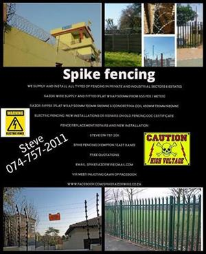 Spike Fencing / Razor wire supply and fitted & Electric fencing / at low costs