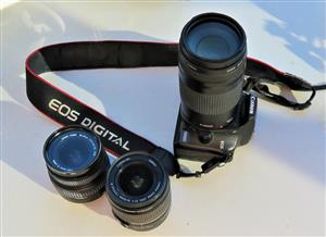 Canon Eos 100d wioth Standard lens 18-55 and Canon 75 - 300m zoom lens