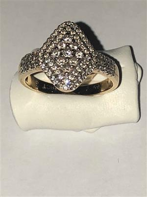 Stunning 18ct Gold Marquise Shape Diamond Cluster Ring for sale 0.54ct diamonds