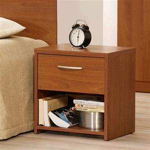 Hazlo Bedstand Side Table Pedestal With Drawer - Dark Oak