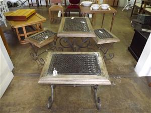 Collection of unusual wood and wrought iron sidetables