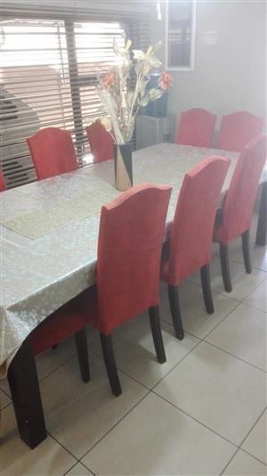 Dining Room Set - 10 Chairs in Suede Material and Table