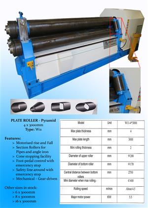 NEW!  PLATE  ROLLER  - PYRAMID 4 x 3000 mm