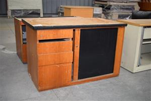 Black sliding door wooden cabinet with drawers