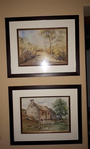 Bome en huis skilderye met swart rame