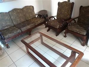 Antique Embuia Wheel Wagon 7 Seater Lounge suite