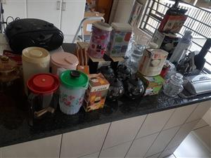 Various kitchen bins and containers