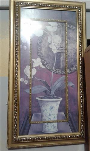 Golden framed white flower painting