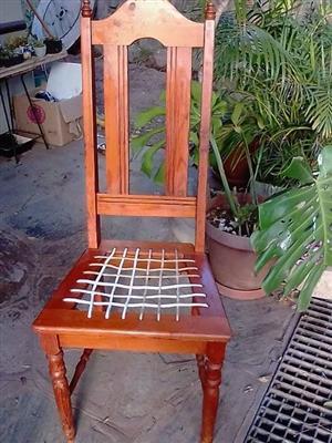 High back riempie chair