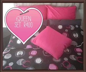 Black,grey and pink queen bed set