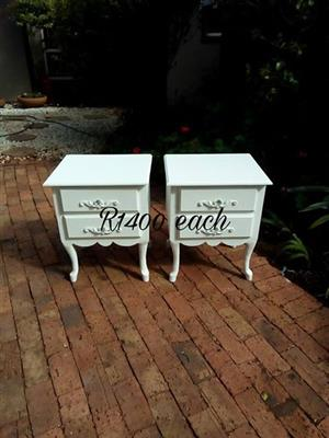 White 2 drawer side tables