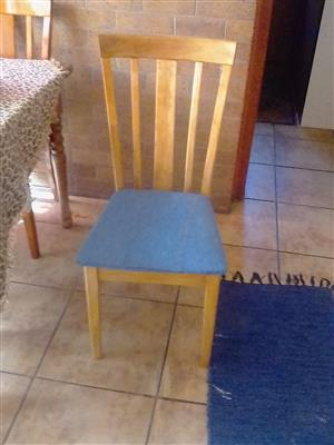 Wooden Chairs seat covered in denim