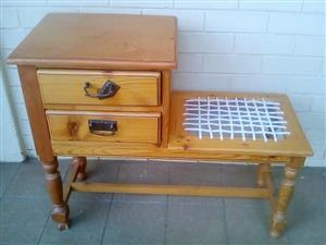 Solid knotty pine table & chair. Still in very good condition.