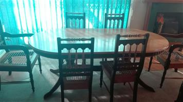Imbuia and yellow wood dining set