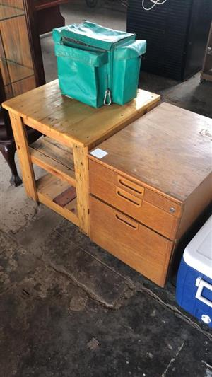 Wooden side table and drawer