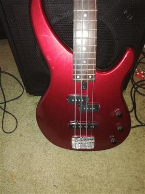 Yamaha bass guitar and amp