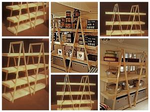 Trestle shelving Double A Frame 4 Tier 1800 - Raw