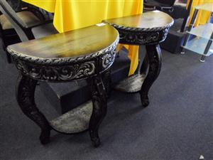 Wooden Half Moon Tables