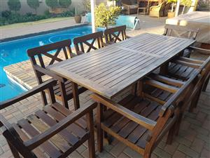 Patio solid wood 8 seater table and 8 chairs