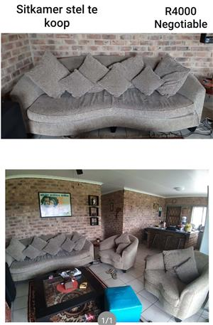 Lounge suite for sale. 1 x 3 seater 2 x single seater