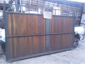 Sliding steel & mahogany gate