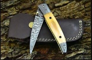 Handmade Damascus Steel Folding Knife