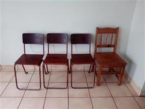 4 Vintage wooden chairs for sale