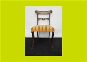 Georgian Brass Inlaid Mahogany Bedroom Chair - SKU 458