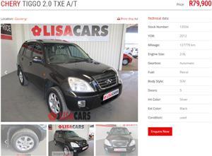 2012 Chery Tiggo 2.0 TXE auto