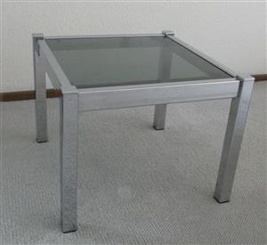 RETRO CHROME AND GLASS TABLE