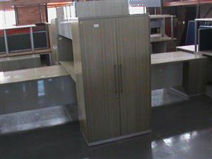 2 Tone 2 way cluster desk plus cabinets,servers,glass doorsx4