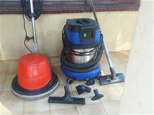 Floor Polisher/Scrubber, R46 Columbus Plus Vacuum Cleaner, 15Lt, Stainless Steel, Wet/Dry p;lus 4 x Wet floor signs plus 4 x Mop trolleys with 8 x 20Lt Buckets plus 4 x mop wrinnger for each trolley
