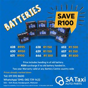 TAXI BATTERIES? New Raylite batteries on special - SA Taxi Auto Parts quality spares