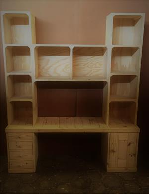 Study desk and bookshelf units Cottage series 1800 - Raw