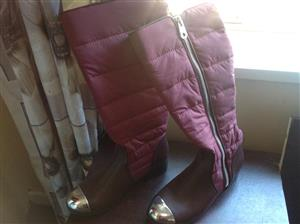 Pink and brown winter boots