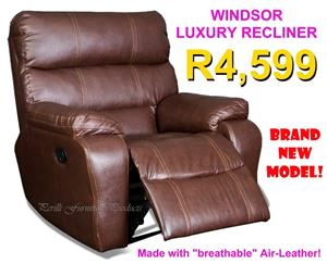 Single Windsor Luxury Recliner in ​Air-Leather - R4,599