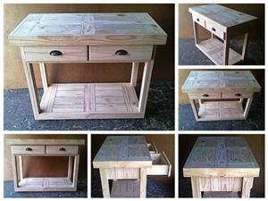 Kitchen Island Farmhouse series 1170 with 2 drawers mobile Raw
