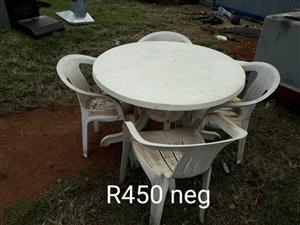 4 Seater white plastic garden set for sale