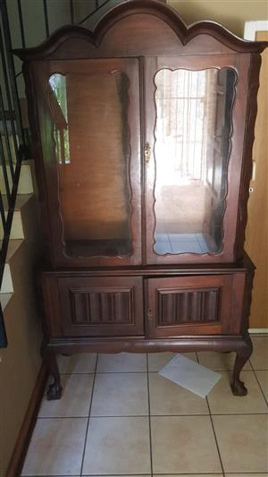 Antiques dinning Table, display cupboards and drawer 35k