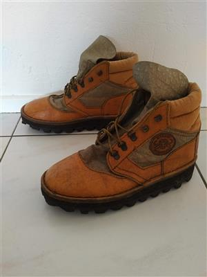 Leather Hiking Boots - Size 8